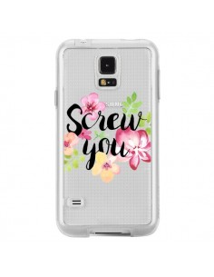Coque Screw you Flower Fleur Transparente pour Samsung Galaxy S5 - Maryline Cazenave