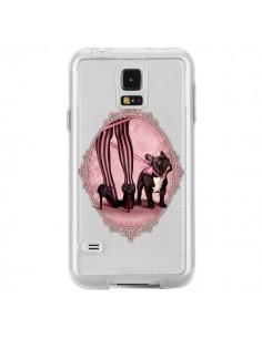 Coque Lady Jambes Chien Bulldog Dog Rose Pois Noir Transparente pour Samsung Galaxy S5 - Maryline Cazenave