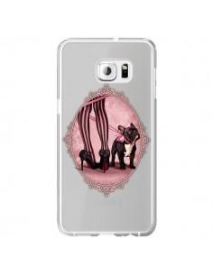 Coque Lady Jambes Chien Bulldog Dog Rose Pois Noir Transparente pour Samsung Galaxy S6 Edge Plus - Maryline Cazenave