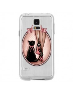 Coque Lady Chat Noeud Papillon Pois Chaussures Transparente pour Samsung Galaxy S5 - Maryline Cazenave