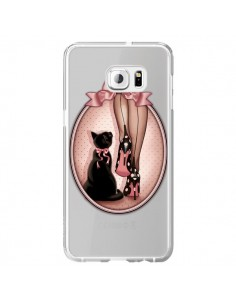 Coque Lady Chat Noeud Papillon Pois Chaussures Transparente pour Samsung Galaxy S6 Edge Plus - Maryline Cazenave
