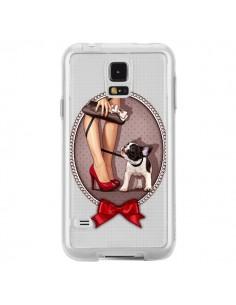 Coque Lady Jambes Chien Bulldog Dog Pois Noeud Papillon Transparente pour Samsung Galaxy S5 - Maryline Cazenave