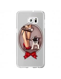 Coque Lady Jambes Chien Bulldog Dog Pois Noeud Papillon Transparente pour Samsung Galaxy S6 Edge Plus - Maryline Cazenave
