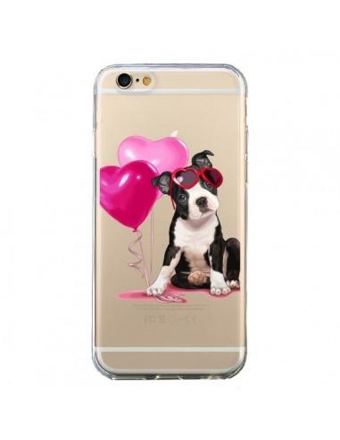 coque iphone 6 et 6s chien dog ballon lunettes coeur rose transparente maryline cazenave