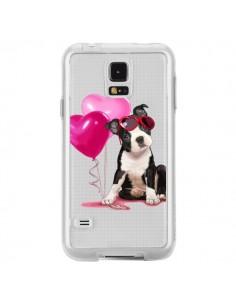 Coque Chien Dog Ballon Lunettes Coeur Rose Transparente pour Samsung Galaxy S5 - Maryline Cazenave