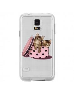 Coque Chaton Chat Kitten Boite Pois Transparente pour Samsung Galaxy S5 - Maryline Cazenave