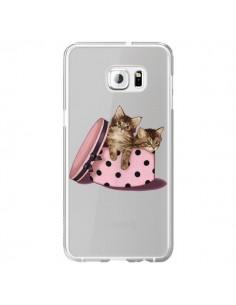 Coque Chaton Chat Kitten Boite Pois Transparente pour Samsung Galaxy S6 Edge Plus - Maryline Cazenave