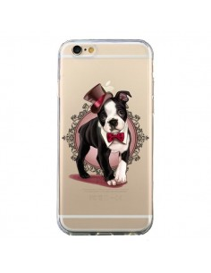 Coque Chien Bulldog Dog Gentleman Noeud Papillon Chapeau Transparente pour iPhone 6 et 6S - Maryline Cazenave