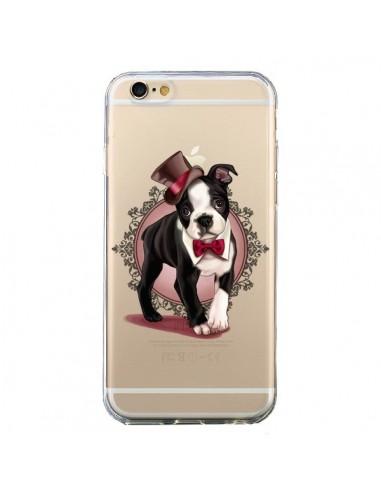 Coque Chien Bulldog Dog Gentleman Noeud Papillon Chapeau Transparente pour iPhone 6 et 6S - Maryline Cazenave