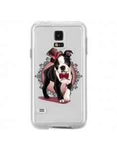 Coque Chien Bulldog Dog Gentleman Noeud Papillon Chapeau Transparente pour Samsung Galaxy S5 - Maryline Cazenave