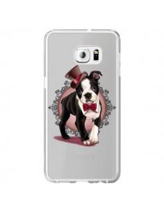 Coque Chien Bulldog Dog Gentleman Noeud Papillon Chapeau Transparente pour Samsung Galaxy S6 Edge Plus - Maryline Cazenave