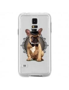 Coque Chien Bulldog Noeud Papillon Chapeau Transparente pour Samsung Galaxy S5 - Maryline Cazenave