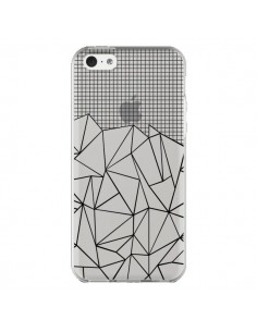 Coque iPhone 5C Lignes Grille Grid Abstract Noir Transparente - Project M