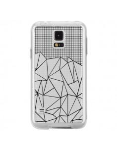 Coque Lignes Grille Grid Abstract Noir Transparente pour Samsung Galaxy S5 - Project M