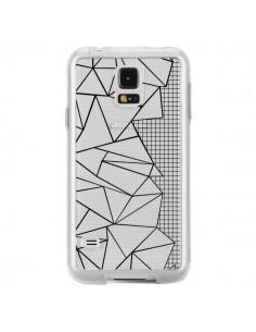 Coque Lignes Grilles Side Grid Abstract Noir Transparente pour Samsung Galaxy S5 - Project M