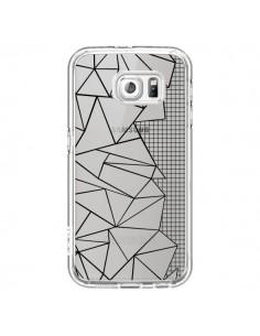 Coque Lignes Grilles Side Grid Abstract Noir Transparente pour Samsung Galaxy S6 - Project M