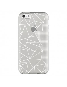 Coque iPhone 5C Lignes Grilles Side Grid Abstract Blanc Transparente - Project M