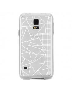 Coque Lignes Grilles Side Grid Abstract Blanc Transparente pour Samsung Galaxy S5 - Project M