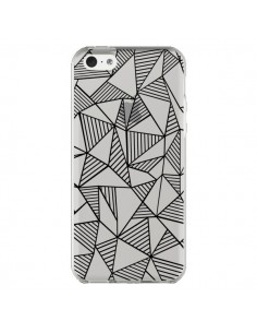 Coque iPhone 5C Lignes Grilles Triangles Grid Abstract Noir Transparente - Project M