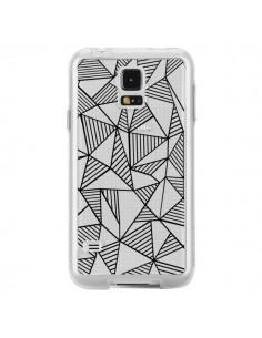 Coque Lignes Grilles Triangles Grid Abstract Noir Transparente pour Samsung Galaxy S5 - Project M