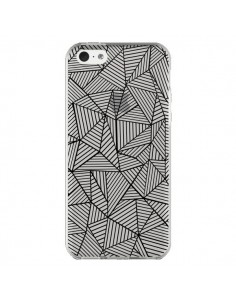 Coque iPhone 5C Lignes Grilles Triangles Full Grid Abstract Noir Transparente - Project M