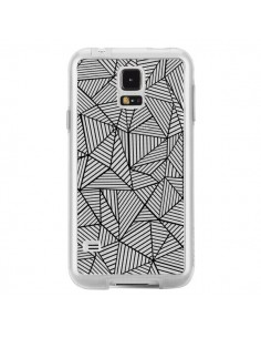 Coque Lignes Grilles Triangles Full Grid Abstract Noir Transparente pour Samsung Galaxy S5 - Project M