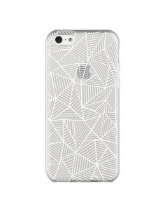 Coque iPhone 5C Lignes Grilles Triangles Full Grid Abstract Blanc Transparente - Project M