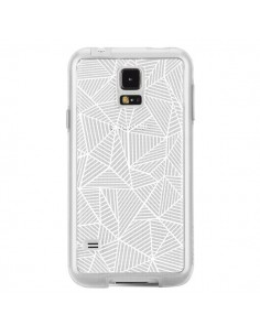 Coque Lignes Grilles Triangles Full Grid Abstract Blanc Transparente pour Samsung Galaxy S5 - Project M