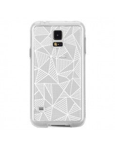 Coque Lignes Grilles Triangles Grid Abstract Blanc Transparente pour Samsung Galaxy S5 - Project M