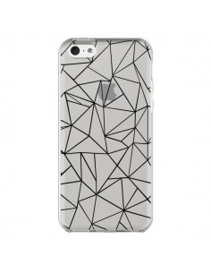 Coque iPhone 5C Lignes Triangles Grid Abstract Noir Transparente - Project M