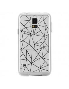 Coque Lignes Triangles Grid Abstract Noir Transparente pour Samsung Galaxy S5 - Project M