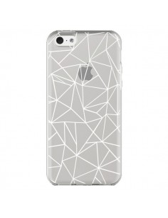 Coque iPhone 5C Lignes Triangles Grid Abstract Blanc Transparente - Project M