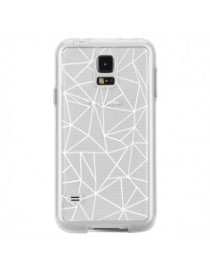 Coque Lignes Triangles Grid Abstract Blanc Transparente pour Samsung Galaxy S5 - Project M