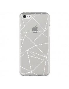 Coque iPhone 5C Lignes Points Abstract Blanc Transparente - Project M