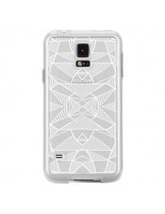 Coque Lignes Miroir Grilles Triangles Grid Abstract Blanc Transparente pour Samsung Galaxy S5 - Project M
