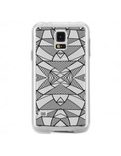 Coque Lignes Miroir Grilles Triangles Grid Abstract Noir Transparente pour Samsung Galaxy S5 - Project M