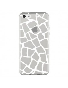 Coque iPhone 5C Girafe Mosaïque Blanc Transparente - Project M