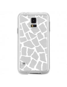 Coque Girafe Mosaïque Blanc Transparente pour Samsung Galaxy S5 - Project M