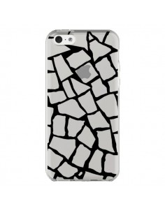 Coque iPhone 5C Girafe Mosaïque Noir Transparente - Project M