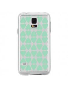Coque Coeurs Heart Mint Bleu Vert Transparente pour Samsung Galaxy S5 - Project M