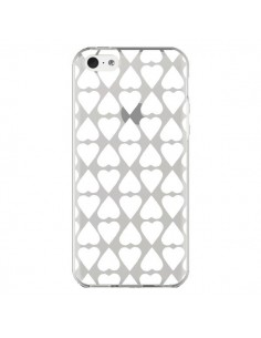 Coque iPhone 5C Coeurs Heart Blanc Transparente - Project M