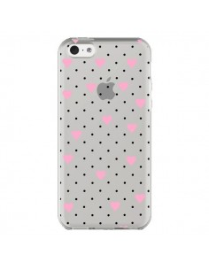 Coque Point Coeur Rose Pin Point Heart Transparente pour iPhone 5C - Project M