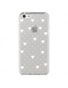 Coque iPhone 5C Point Coeur Blanc Pin Point Heart Transparente - Project M