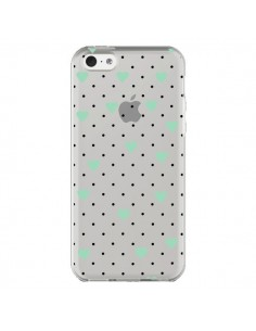 Coque iPhone 5C Point Coeur Mint Bleu Vert Pin Point Heart Transparente - Project M