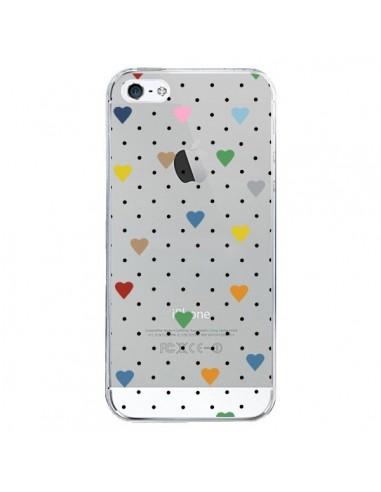 Coque iPhone 5/5S et SE Point Coeur Coloré Pin Point Heart Transparente - Project M