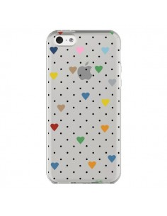 Coque iPhone 5C Point Coeur Coloré Pin Point Heart Transparente - Project M
