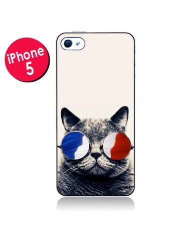 Coque Chat à lunettes françaises pour iPhone 5
