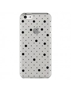 Coque iPhone 5C Point Noir Pin Point Transparente - Project M