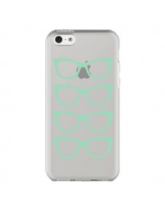 Coque iPhone 5C Sunglasses Lunettes Soleil Mint Bleu Vert Transparente - Project M
