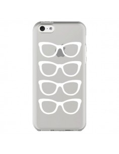 Coque iPhone 5C Sunglasses Lunettes Soleil Blanc Transparente - Project M